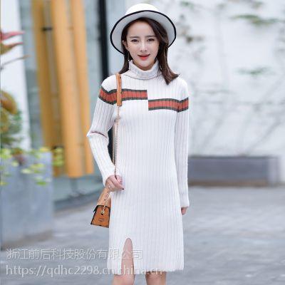 秋冬季新款女式针织打底衫时尚不规则坑条中长款开叉韩版加厚毛衣