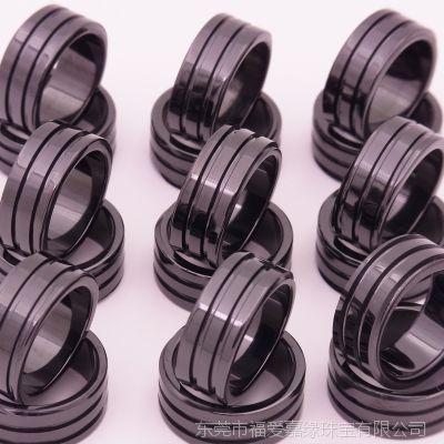 2.0厚两圈螺纹槽戒指耐高温氧化锆陶瓷首饰配件来图来样生产定制