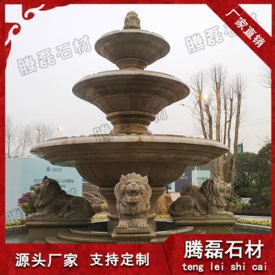 惠安专业厂家制作石材喷泉 汉白玉喷泉 锈石大型石雕欧式水钵厂家定做