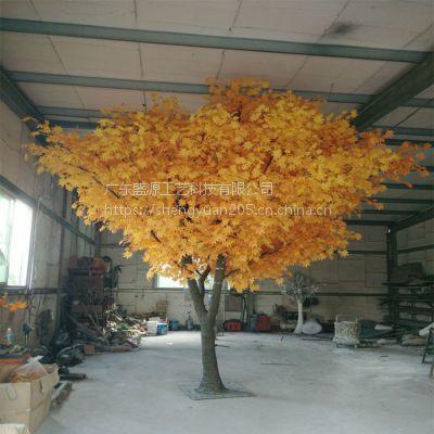 仿真金色枫树假树 黄色枫树 装饰假枫树 新年许愿树