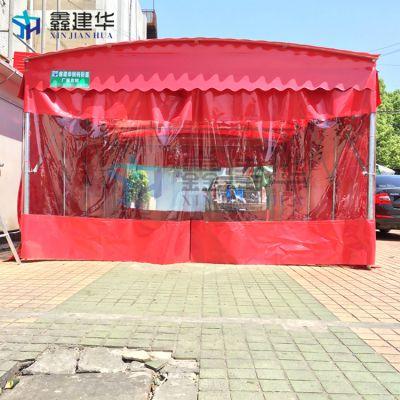 厂家定做户外烧烤雨棚 活动伸缩雨蓬布 轮式帐篷移动技术专业