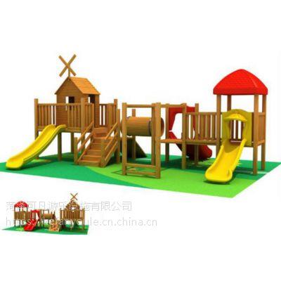 幼儿园户外木质攀爬架组合滑梯设备/进口木制拓展训练器材