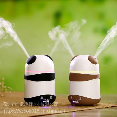 厂家直销创意礼品补水保湿熊猫加湿器新品USB办公室香薰加湿器