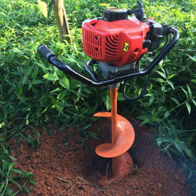 新款49CC二冲程汽油植树挖坑机大棚埋桩打眼机单人手持式地钻
