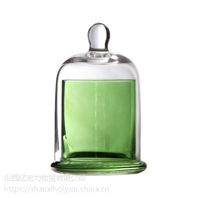HOLY大中小号圆珠顶玻璃钟罩喷色电镀激光雕刻电子蜡烛台