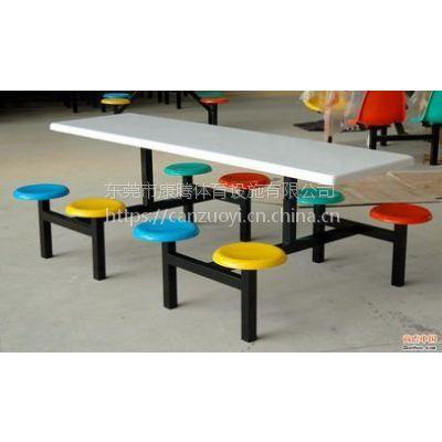 佛山市食堂饭堂玻璃钢靠背餐台13827249855 连体餐桌椅配烤漆架子寿命8-10年