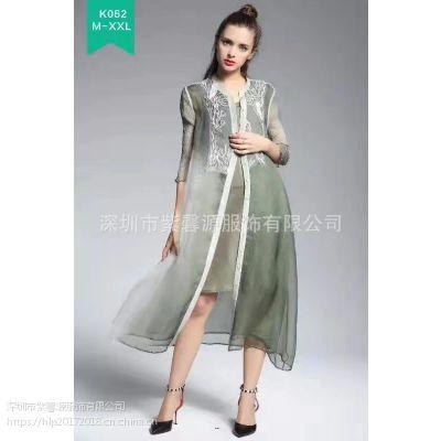 品牌女装折扣桑蚕丝连衣裙 100%真丝欧美风格印花品牌女装批发