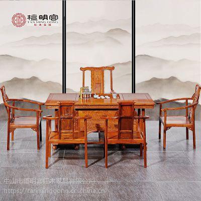 檀明宫红木家具 紫檀花梨木牡丹六件套茶桌椅古典中式实木组合
