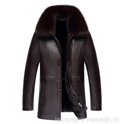 海宁真皮皮衣男士中老年皮毛一体中长款加厚绵羊皮夹克外套爸爸装