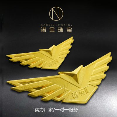 厂家供应纯银徽章 镀银胸针 金属徽章定制 翅膀胸针定制