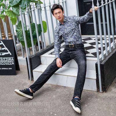 2018秋季新款男式韩版弹力时尚修身直筒小脚牛仔长裤8803