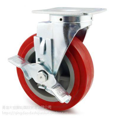 大世厂家 6寸注塑芯聚氨酯轮 工业脚轮 定转刹 可定制