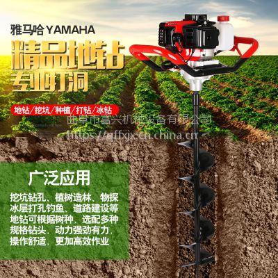 多功能植树挖坑机 富兴双人操作打坑机 拖拉机带动大型挖坑钻孔机厂家价格