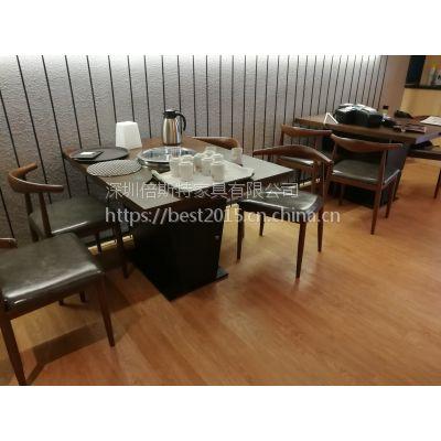 倍斯特有现货简约现代金属仿木餐椅中式料理铁艺牛角椅厂家定制