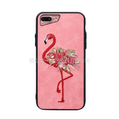 苹果iPhonex火烈鸟刺绣手机壳iphone7刺绣动物手机套批发