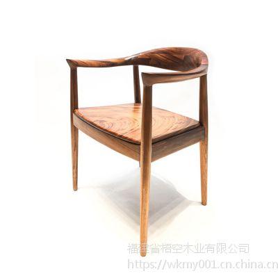 梧空木业乌金木总统椅实木面电脑椅办公椅
