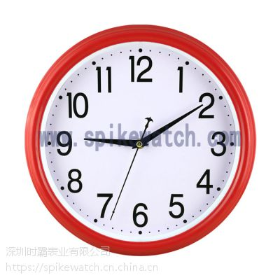 SPIKE钟表厂供应新款圆形塑胶时尚跳扫秒机芯静音挂钟