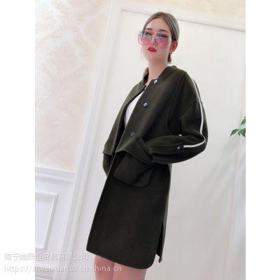 武汉品牌折扣女装店 雅鹿18双面羊绒大衣大码女装直播批发