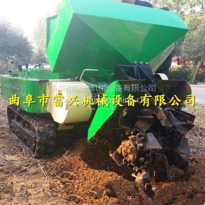 可原地旋转履带开沟机厂家 富兴牌自走式旋耕施肥回填机