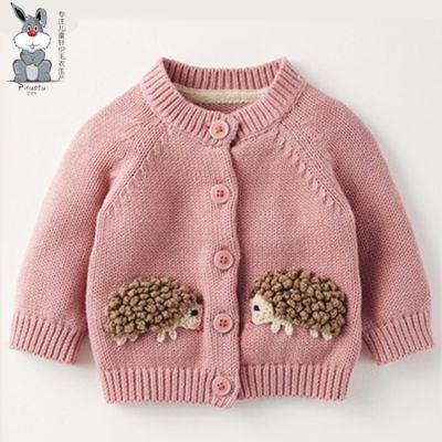 儿童针织毛衣开衫环保全棉材质A类可贴身标准秋冬季新款 婴幼儿针织毛衣厂家