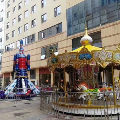 豪华大型美女飞檐旋转木马广场景区商场炫彩超豪华转马游乐设备