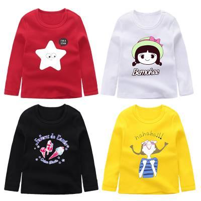 5元童装春装新款女童T恤长袖中小儿童女打底衫春秋上衣女孩卫衣