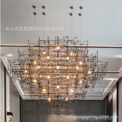 设计师大堂大厅新款导电蒲公英吊灯不锈钢装饰灯商业空间装饰灯具