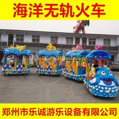 广场儿童电动玩具仿古无轨火车 景区户外电动观光车