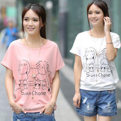 东莞韩版女装T恤短袖批发厂家摆地摊货源棉印花均码短袖