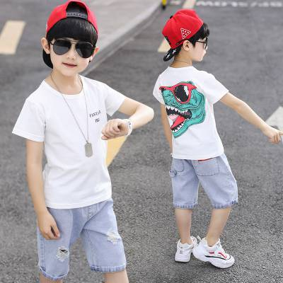 广州服装批发夏季童装短袖库存尾货服装童装T恤可爱男女童套装
