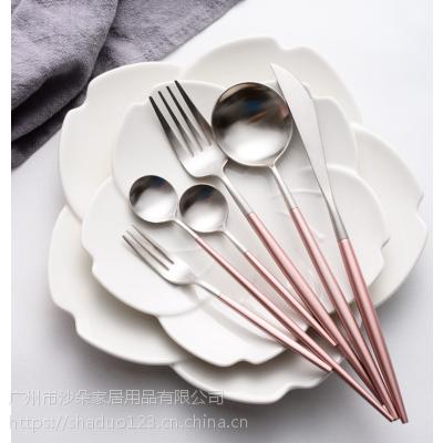 Annie粉加银刀叉勺 创意小清新尖尾304不锈钢餐具 摆台礼品餐具套装