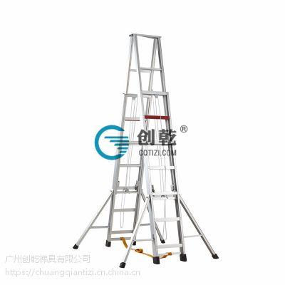 广东创乾广州5米工程人字梯伸缩梯CQS-5M升降梯人字梯升降梯铝合金梯子工厂梯子