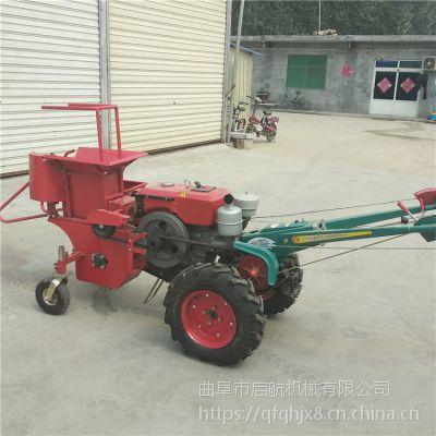 山地玉米收割机 启航手扶车带掰苞米机 新款单行棒子收获机哪里有卖