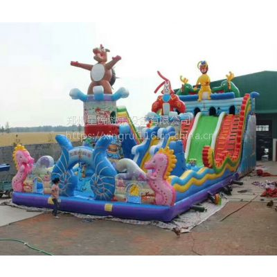 热销儿童充气堡乐园 星锐专业生产充气蹦蹦床,充气滑梯