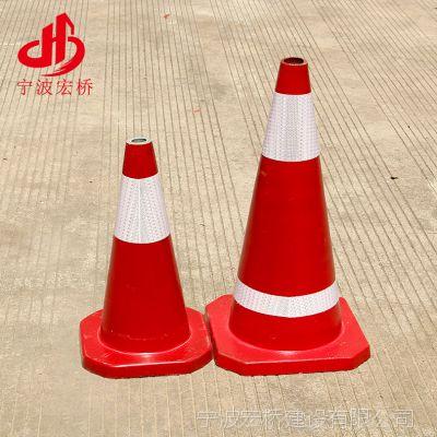 路锥 厂家批发70cm国标交通PVC橡胶停车场路标 红白反光警示路锥