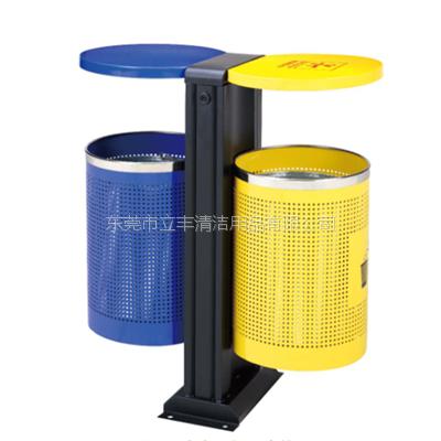 LF-C101户外分类垃圾桶 铁板喷塑垃圾箱 分类环保果皮桶 室外环卫桶报价