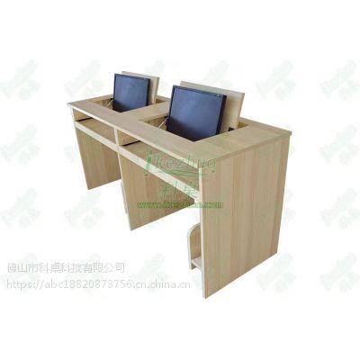 西藏双人翻转电脑桌定制 拉萨液晶屏可翻转电脑桌 科桌