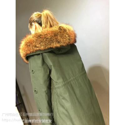 派克服18年冬品牌折扣女装货源高端羽绒豪华大毛领可拆卸内胆
