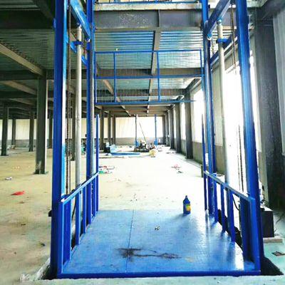 厂家定制10米1吨单缸双臂导轨式升降平台 车间载货液压式升降货梯