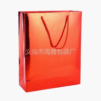 铝箔纸手提袋定做logo 烫镭射银加压纹手提纸袋