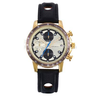戈菲尔品牌时尚男士六针手表防水石英表真皮表带合金手表定制批发