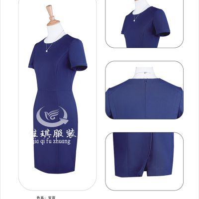 白色条纹化纤类混纺连衣裙,北京女士连衣裙定制,低价定制服装,