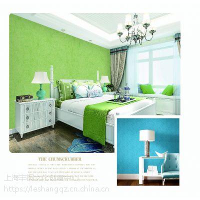 上海乐尚墙纸厂家—绿色纯色素色墙纸春意盎然