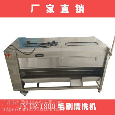 广东九盈机械马蹄毛刷清洗机,莲藕清洗去皮机,粉葛脱皮机批发价,去皮率达95%