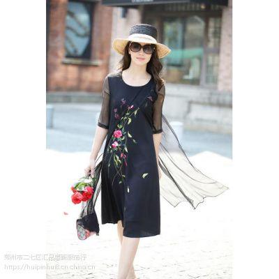 卡梵朵品牌女装春夏女装中袖复古刺绣中长款真丝连衣裙五分袖套头
