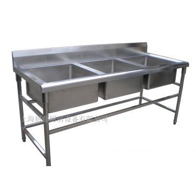 上海厨房设备厂家定做不锈钢三眼水池