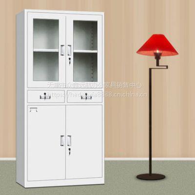 天津铁皮玻璃对开门 资料柜厂家直销