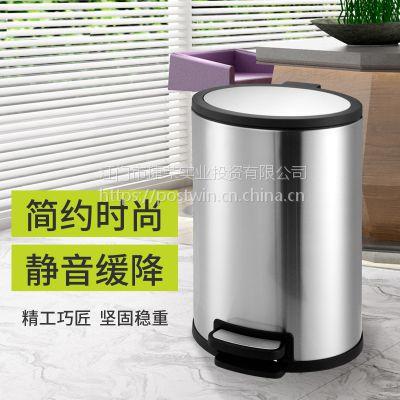 不锈钢椭圆静音防指纹脚踏式垃圾桶废纸篓家用卫生间厨房