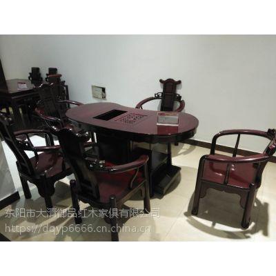 东阳木雕城大清御品红木家具批发厂巴里黄檀腰型茶台6件套
