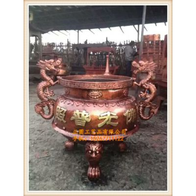 zy017圆形平口香炉厂家,圆形六龙柱香炉,正圆寺庙香炉生产厂家